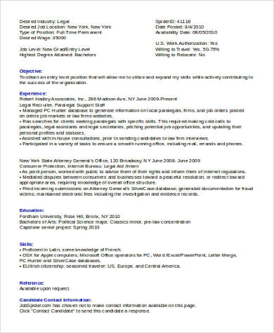 entry level legal assistant resume sample - Legal Assistant Resume Samples