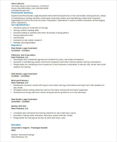 Sample Legal Assistant Resume   Examples In Word Pdf