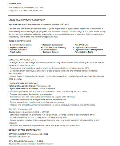 Legal Administrative Assistant Resume  Legal Administrative Assistant Resume