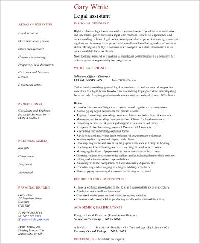 legal assistant resume in pdf - Legal Assistant Resume