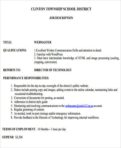 Sample Webmaster Job Description - 8+ Examples In Word, Pdf