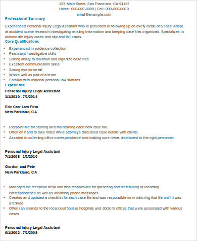 legal assistant personal injury resume