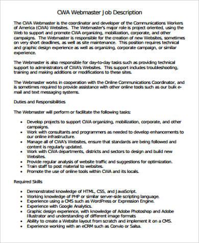 webmaster developer job description