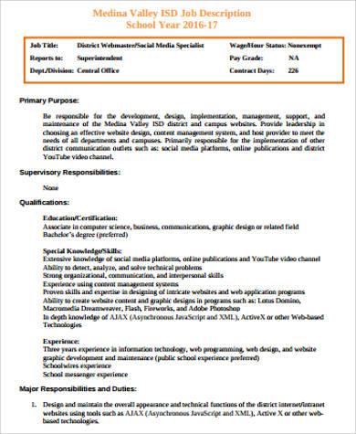 webmaster specialist job description