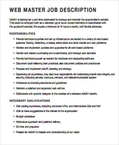 Sample Webmaster Job Description   Examples In Word Pdf
