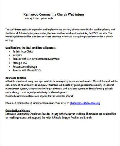 webmaster intern job description example