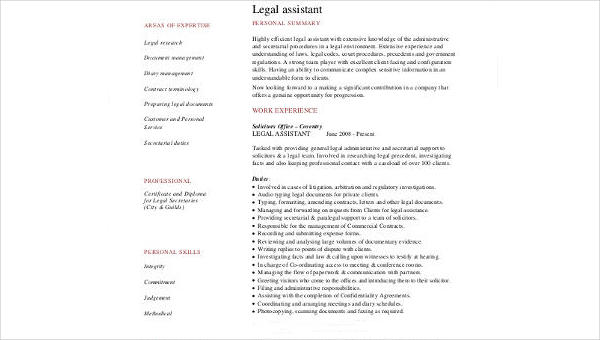 8  sample legal assistant resumes