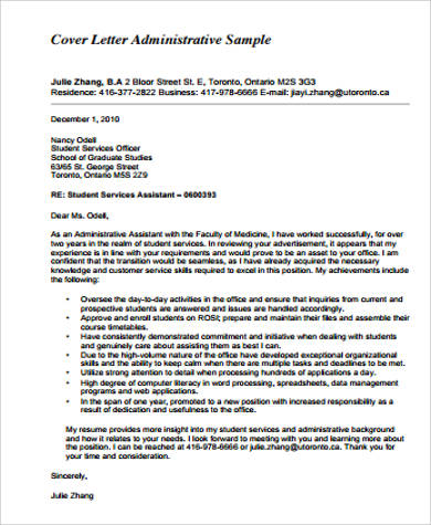 Administrative Istant Cover Letter | Sample Office Assistant Cover Letter 7 Examples In Word Pdf