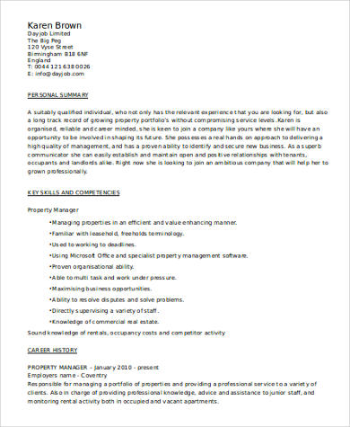 property manager resume skills example