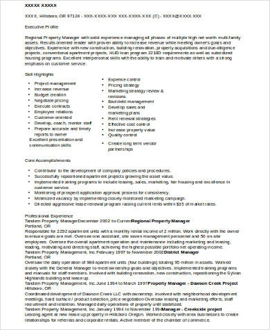 Sample Property Manager Resume  9 Examples in Word  PDF