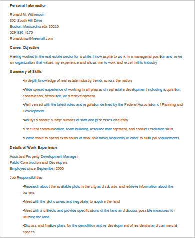 property development manager resume