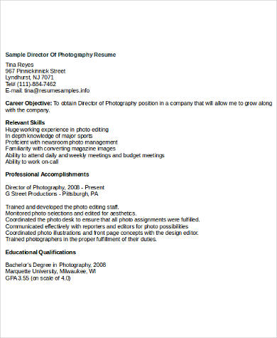 Sample Photography Resume   Examples In Word Pdf