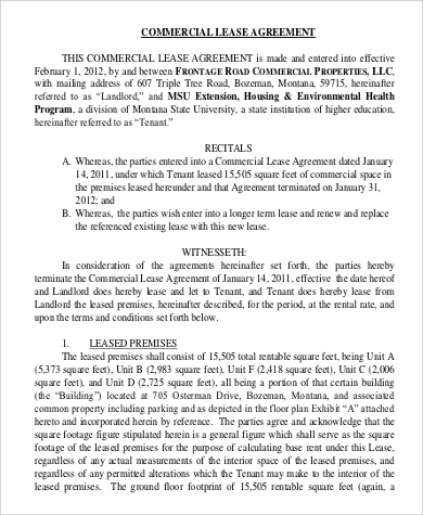Generic Commerical Lease Agreement