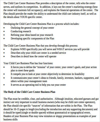 Sample Daycare Business Plan - 8+ Examples in Word, PDF