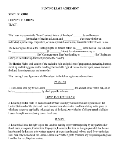 hunting generic lease agreement