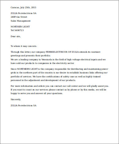 Business Services Introduction Letter