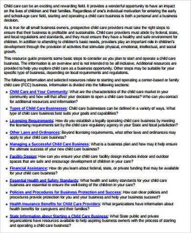 daycare business plan printable