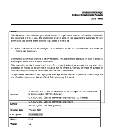 requirements analysis document