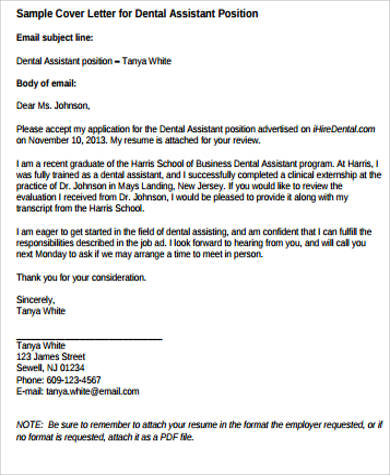sample cover letter dental assistant