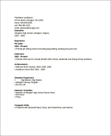Sample Resume With No Work Experience   Examples In Word Pdf