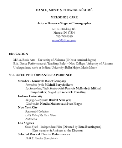 Sample Theatre Resume   Examples In Word Pdf