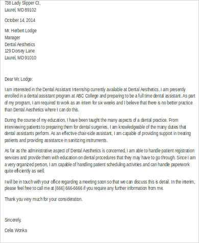 dental assistant cover letter for internship