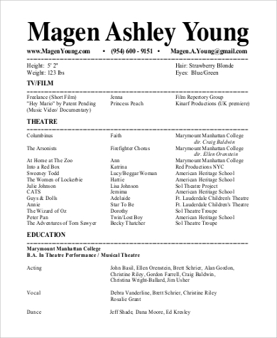 Sample Theatre Resume - 9+ Examples In Word, Pdf