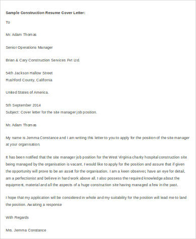 construction cover letter example for resume