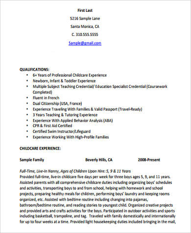 child care resume with experience