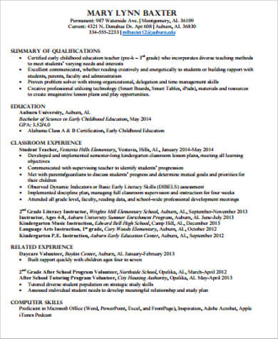 child care educator resume