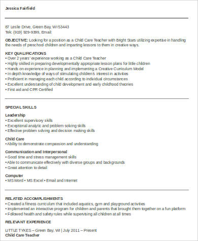 child care teacher resume pdf