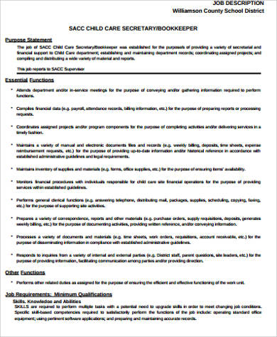 child care job desciption for resume
