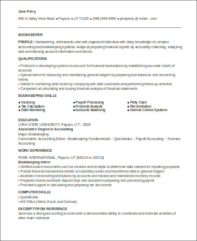Sample Bookkeeper Resume 7 Examples In Word Pdf