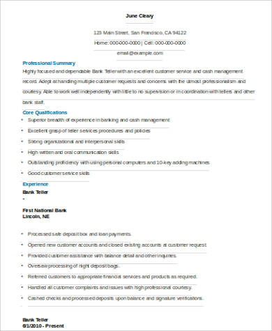 Sample Bank Teller Resume   Examples In Word Pdf