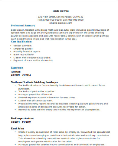 Free 7 Sample Bookkeeper Resume Templates In Ms Word Pdf