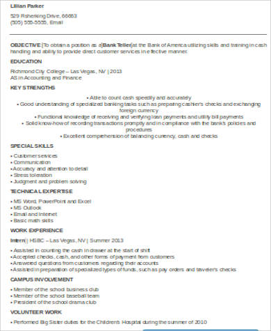 Bank Teller Resume With No Experience  Bank Teller Resume No Experience