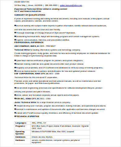 technical writer resume exles
