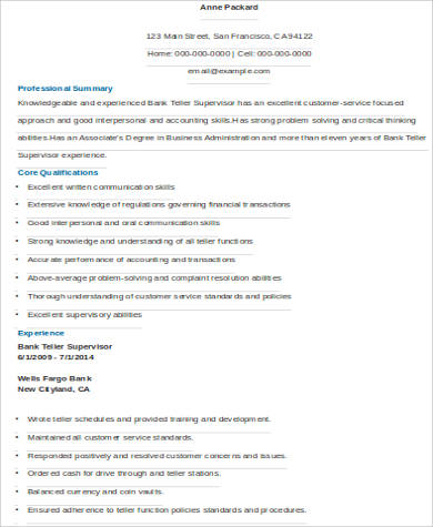 bank teller supervisior resume