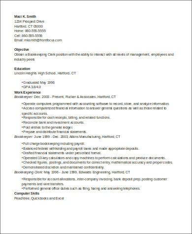 bookkeeper clerk resume