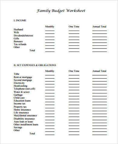 Sample Family Budget Worksheet   Examples In Word Pdf