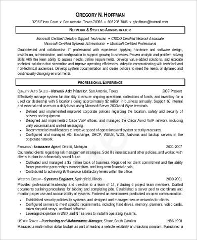 networking administrative basic resume