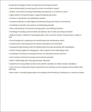 sample bookkeeper skills resume