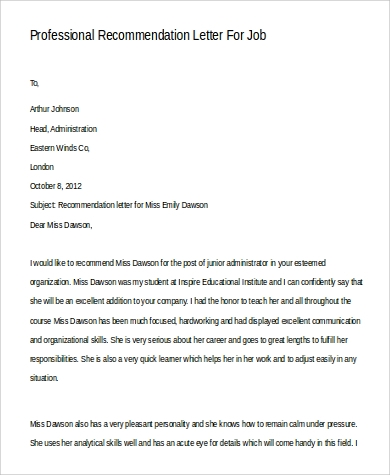 Sample Professional Letter Of Recommendation   Examples In Word Pdf