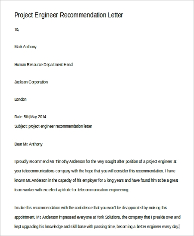Sample Professional Letter Of Recommendation 9 Examples