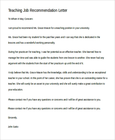 professional teaching job recommendation letter