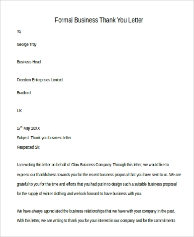 formal business thank you letter sample