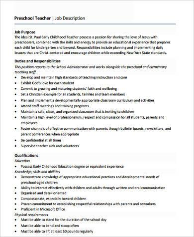 example of preschool teacher resume examples of resumes