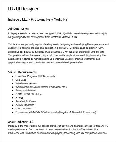 Ux Designer Job Description Sample   Examples In Word Pdf