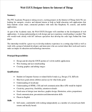 ux designer intern job description