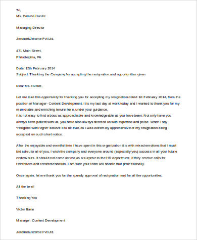 resignation thank you letter to boss